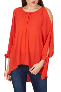 Womens Cold Shoulder Slit Lace-up Sleeve Plain Blouse Tangerine