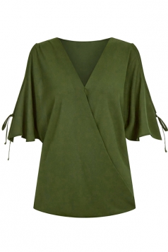 Womens V Neck Cold Shoulder Flare Short Sleeve Blouse Army Green
