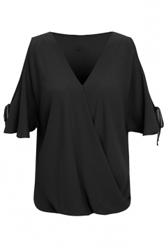 Womens V Neck Cold Shoulder Flare Short Sleeve Plain Blouse Black