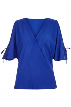Womens V Neck Cold Shoulder Flare Short Sleeve Blouse Sapphire Blue