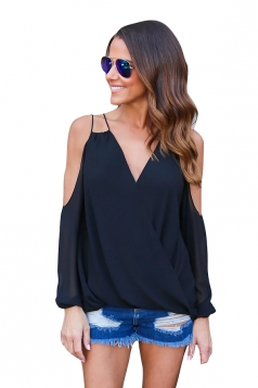 Womesn V-neck Strings Cold Shoulder Long Sleeve Blouse Black