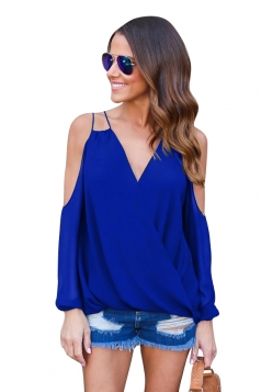 Womesn V-neck Strings Cold Shoulder Long Sleeve Blouse Sapphire Blue