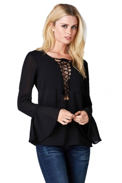 Womens Sexy Crisscross String Flare Long Sleeve Blouse Black