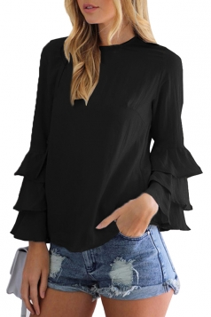 Womens Crew Neck Plain Ruffled Long Sleeve Blouse Black