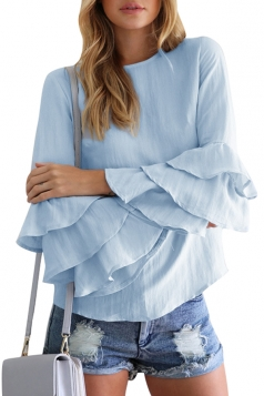 Womens Crew Neck Plain Ruffled Long Sleeve Blouse Light Blue