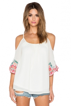 Womens Straps Cold Shoulder Floral Printed Loose Chiffon Blouse White