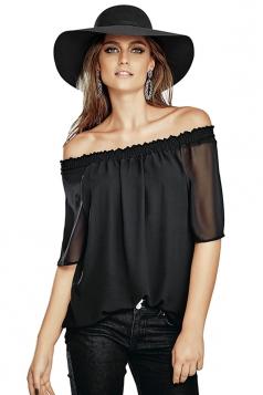Womens Sexy Boat Neckline Short Sleeve Chiffon Blouse Black