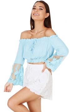 Womens Sexy Boat Neckline Patchwork Long Sleeve Blouse Light Blue