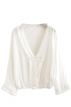 Womens Casual V-neck Fringe Batwing Sleeve Blouse White