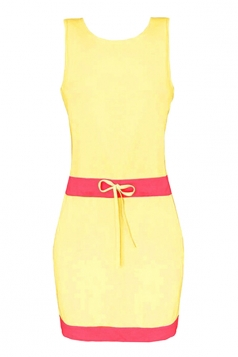Womens Color Block Sleeveless Tank Dress Yellow