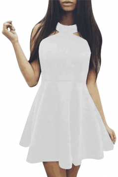 Womens Off Shoulder Plain Sleeveless Skater Dress White