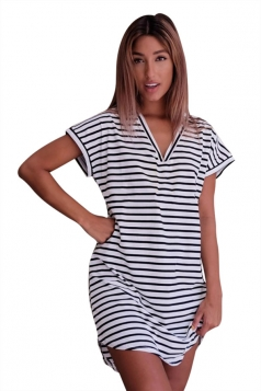 Womens V Neck Striped Short Sleeve Pullover Shirt Dress Black