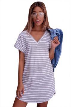 Womens V Neck Striped Short Sleeve Pullover Shirt Dress Light Gray