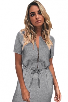 Womens Zipper Front Drawstring Waist Short Sleeve Shirt Dress Gray