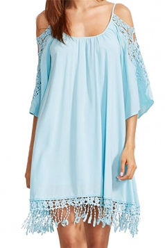 Womens Cold Shoulder Hollow Out Fringe Plain Smock Dress Light Blue