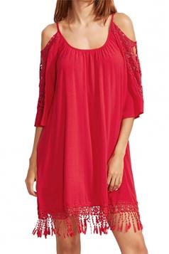 Womens Cold Shoulder Hollow Out Fringe Plain Smock Dress Red