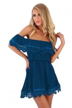 Womens Off Shoulder Lace Patchwork Tunic Plain Tube Dress Blue
