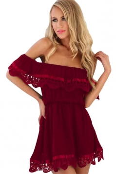 Womens Off Shoulder Lace Patchwork Tunic Plain Tube Dress Ruby
