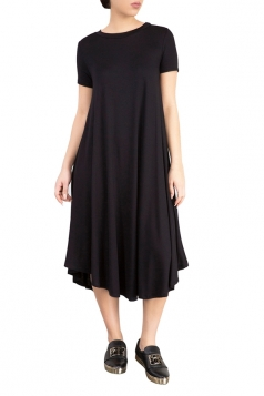 Womens Plain Short Sleeve Pleated Asymmetric Hem Smock Dress Black