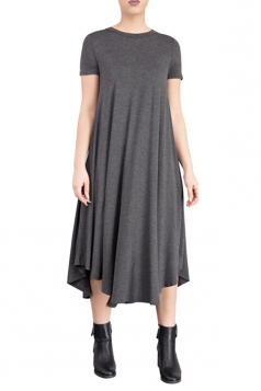 Womens Plain Short Sleeve Pleated Asymmetric Hem Smock Dress Gray