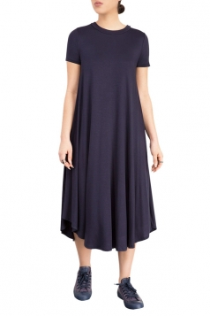 Womens Plain Short Sleeve Pleated Asymmetric Hem Smock Dress Navy Blue
