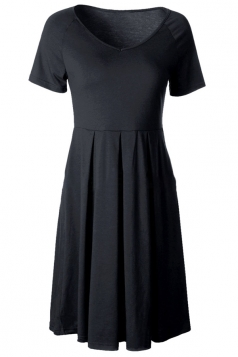 Womens V Neck Short Sleeve Plain Midi Skater Dress Black