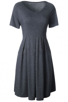 Womens V Neck Short Sleeve Plain Midi Skater Dress Dark Gray