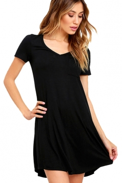 Womens Plain V Neck Short Sleeve Mini Shirt Dress Black