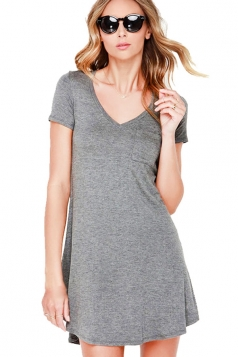 Womens Plain V Neck Short Sleeve Mini Shirt Dress Gray