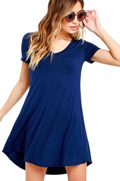 Womens Plain V Neck Short Sleeve Mini Shirt Dress Navy Blue