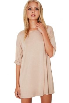 Womens Loose Crewneck Half Sleeve Plain Mini Shirt Dress Apricot