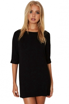 Womens Loose Crewneck Half Sleeve Plain Mini Shirt Dress Black