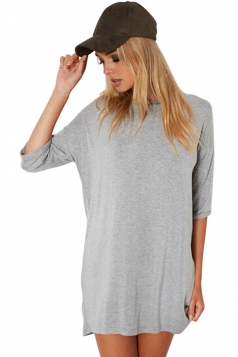 Womens Loose Crewneck Half Sleeve Plain Mini Shirt Dress Gray