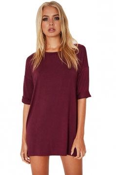 Womens Loose Crewneck Half Sleeve Plain Mini Shirt Dress Ruby