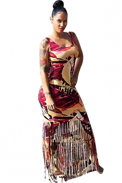 Womens Printed Fringed Hem Sleeveless Maxi Tank Dress Dark Red