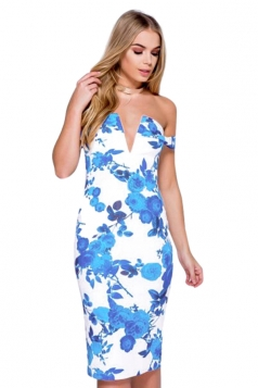 Womens Off Shoulder Floral Printed V-neck Midi Dress Blue