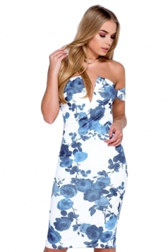 Womens Off Shoulder Floral Printed V-neck Midi Dress Navy Blue