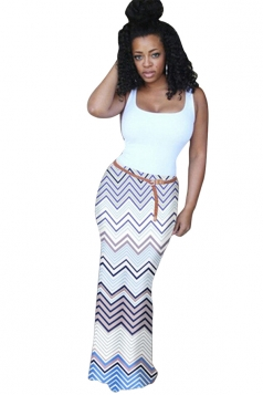 Womens Fashion Camisole Colorful Wave Stripes Maxi Dress Blue