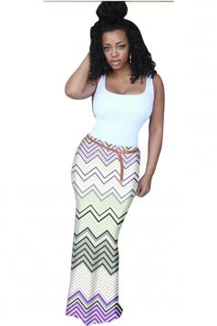 Womens Fashion Camisole Colorful Wave Stripes Maxi Dress Purple