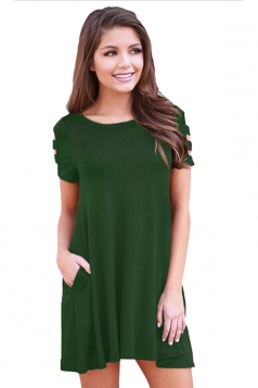Womens Banded Short Sleeve Relaxing Casual Smock Dress Green