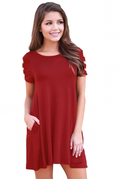 Womens Banded Short Sleeve Relaxing Casual Smock Dress Ruby