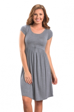 Womens Casual Crew Neck Short Sleeve Skater Dress Gray