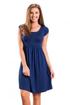 Womens Casual Crew Neck Short Sleeve Skater Dress Sapphire Blue