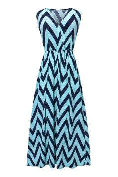 Womens Fashion Wave Strips V-neck Sleeveless Maxi Dress Blue
