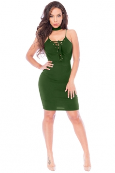 Womens Lace-up V Neck Choker Sleeveless Clubwear Dress Army Green