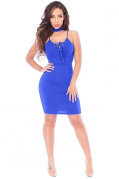 Womens Lace-up V Neck Choker Sleeveless Plain Clubwear Dress Blue