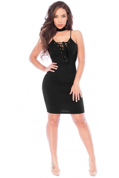 Womens Lace-up V Neck Choker Sleeveless Plain Clubwear Dress Black
