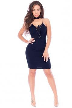 Womens Lace-up V Neck Choker Sleeveless Plain Clubwear Dress Navy Blue