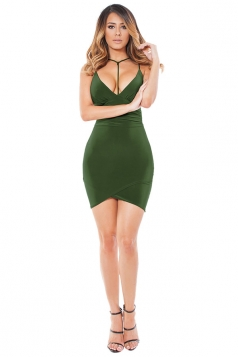 Womens V Neck Spaghetti Straps Plain Clubwear Dress Army Green