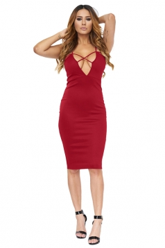 Womens Cross V Neck Spaghetti Straps Plain Clubwear Dress Ruby